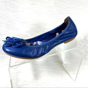 Born Ballet Flats Blue Leather Flower Size 7 M